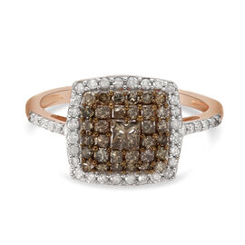9K Rose Gold SGL Certified Natural Champagne Diamond and White Diamond (I3/ G-H) Ring 1.000 Ct.