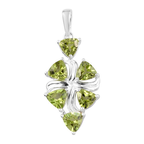 2.75 Ct AA Hebei Peridot Cluster Pendant in Sterling Silver
