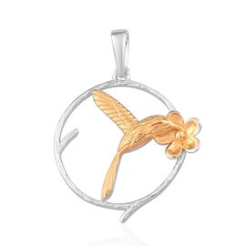 Platinum and Yellow Gold Overlay Sterling Silver Bird Flower Pendant