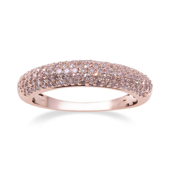 0.50 Ct Natural Pink Diamond Cluster Ring in 9K Rose Gold