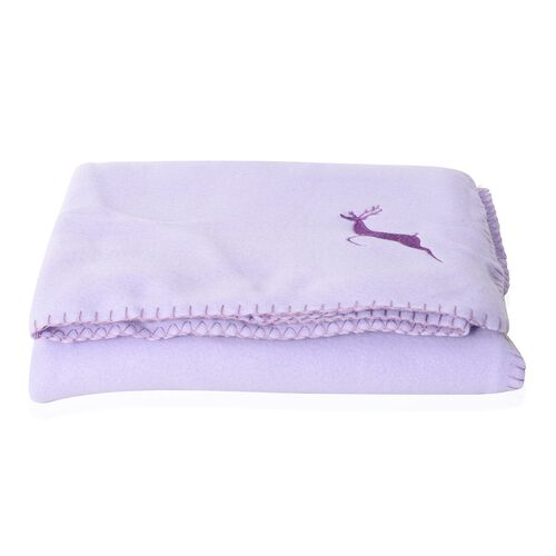 Set of 2 - Light Purple and Lemon Green Colour Fleece Blanket with Elk Embroidery (Size 170x130 Cm)
