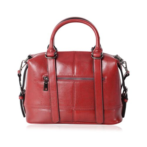 Close Out Deal100% Genuine Leather Wine Colour Tote Bag with External Zipper Pocket and Removable Shoulder Strap (Size 28x22x13 Cm)