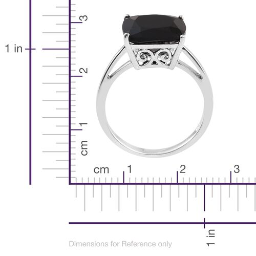 Boi Ploi Black Spinel (Cush) Ring in Platinum Overlay Sterling Silver 8.750 Ct.