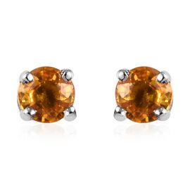 Yellow Sapphire (Rnd) Stud Earrings (with Push Back) in Platinum Overlay Sterling Silver 0.750 Ct.