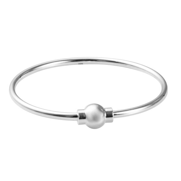 Charmes De Memoire Bangle in Platinum Plated Sterling Silver 10.10 Grams 7.5 Inch