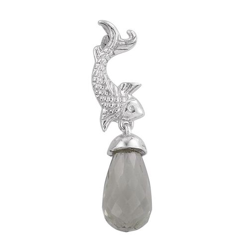 Green Amethyst Fish Drop Pendant in Platinum Overlay Sterling Silver 4.000 Ct.