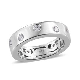 J Francis - Platinum Overlay Sterling Silver (Rnd) Band Ring Made With SWAROVSKI ZIRCONIA