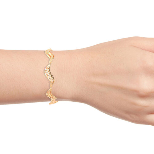 LucyQ Wave Bracelet (Size 8) in Yellow Gold Overlay Sterling Silver