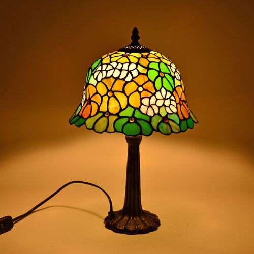 Luxury Edition - Tiffany Style Table Lamp with Stained Glass Mosaic Shade in Floral Design (Size 25 cm diameter)