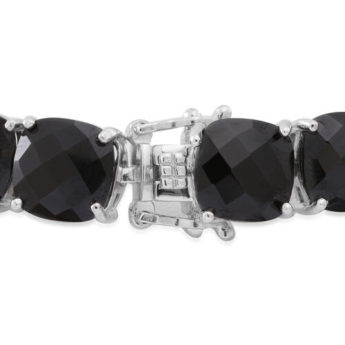 Boi Ploi Black Spinel (Cush) Bracelet (Size 7.5) in Rhodium Plated Sterling Silver 100.000 Ct. Silver wt 18.00 Gms.