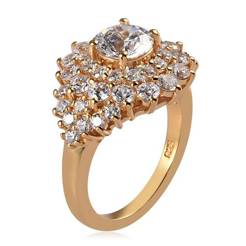 J Francis - 14K Yellow Gold Overlay Sterling Silver Cluster Ring Made with SWAROVSKI ZIRCONIA 4.76 Ct