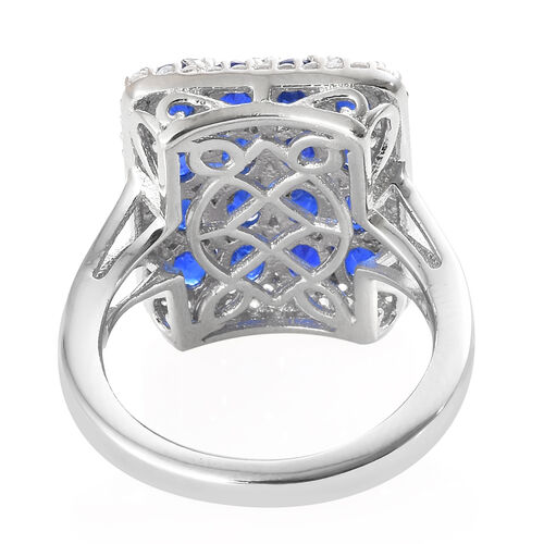 Limited Edition Designer Inspired - Blue Spinel (Ovl), Natural Cambodian Zircon Ring in Platinum Overlay Sterling Silver 3.500 Ct.