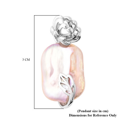 Multi Colour Baroque Pearl Floral Pendant in Rhodium Overlay Sterling Silver