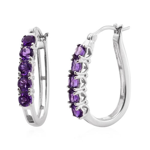 Amethyst 2.50 Ct Sterling Silver Hoop Earrings (with Clasp) in Platinum Overlay
