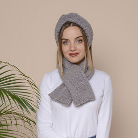 2 Piece Set - Faux Wool Scarf (Size 88x12cm) and Headband (Size 27x10cm) - Light Grey