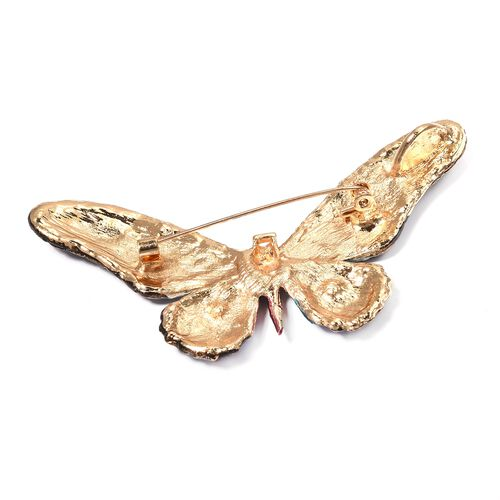 Multi Colour Austrian Crystal (Rnd), Butterfly Brooch in Gold Tone