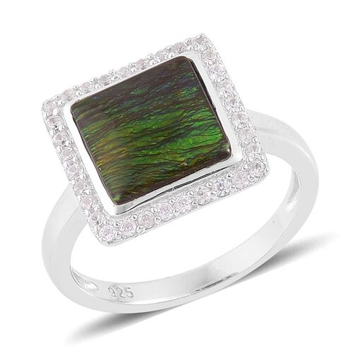 AA Canadian Ammolite (Sqr 3.25 Ct), Natural White Cambodian Zircon Ring in Platinum Overlay Sterling