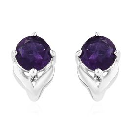 Amethyst (Rnd) Stud Earrings (with Push Back) in Platinum Overlay Sterling Silver 1.000 Ct.