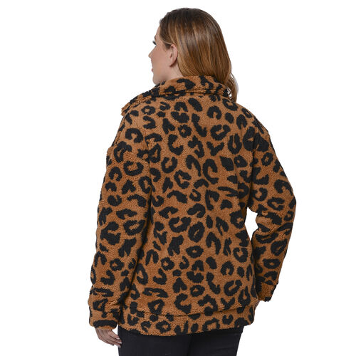 Leopard Pattern Faux Fur Coat with Pockets (Size M; 12-14) CB 29in