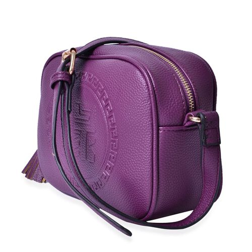 YUAN Collection Purple Colour Crossbody Bag with Tassels and Adjustable Shoulder Strap (Size 21x17x9 Cm)