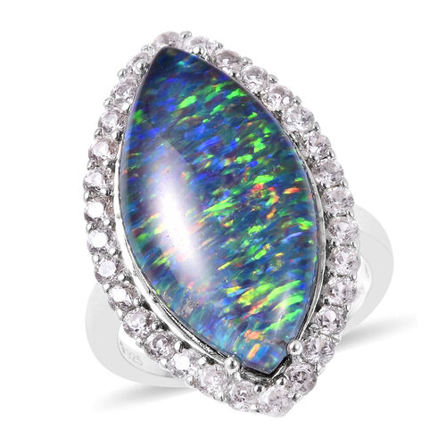 Australian Boulder Opal and Natural Cambodian Zircon Marquise (24x12mm) Ring in Rhodium Overlay Ster