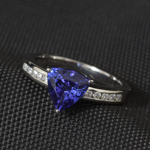 RHAPSODY 950 Platinum AAAA Tanzanite (Tri 1.600 Ct) Diamond (VS/E-F) Solitaire Ring 1.750 Ct, Platinum wt 6.29 Gms.