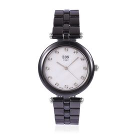 EON 1962 Swiss Movement White MOP Dial 3ATM Water Resistant Watch in Silver Tone with Black Ceramic Strap