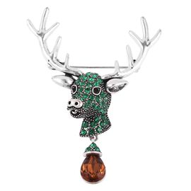Simulated Brown Zircon (Pear), Black and Green Austrian Crystal Deer Head Brooch in Silver Plated