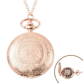 GENOA Automatic Mechanical Flower Pattern Pocket Watch with Chain in Rose Gold Tone