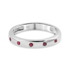 Burmese Ruby Band Ring in Platinum Overlay Sterling Silver