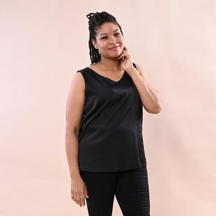 JOVIE Solid Colour Satin Vest - Black