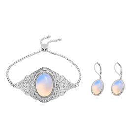 2 Piece Set - Opalite and White Crystal Adjustable Bracelet (Size 6.5 - 9.5) and Lever Back Earrings