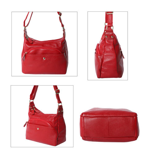 100% Genuine Leather Crossbody Bag with Multiple Pockets and Zipper Closure ( Size 30x23x10cm) - Wine Red