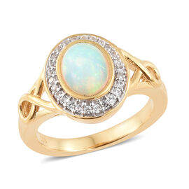 Ethiopian Welo Opal (Ovl 8x6 mm), Natural White Cambodian Zircon Halo Ring in Vermeil Yellow Gold Overlay Sterling Silver 1.000 Ct.