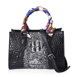 100% Genuine Leather Croc Embossed Tote Bag (Size 26.5x10.3x20.4 Cm) - Black and Silver