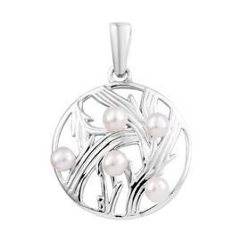 Freshwater Pearl (Rnd) Pendant in Platinum Overlay Sterling Silver 1.00 Ct.