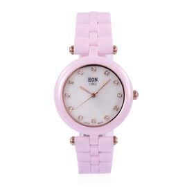 EON 1962 Swiss Movement White MOP Dial 3ATM Water Resistant Watch in Rose Gold Tone with Pink Ceramic Strap