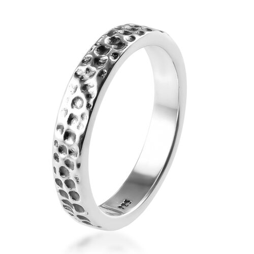 Set of 2 - Platinum Overlay Sterling Silver Band Ring, Silver wt 5.60 Gms