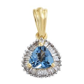 14K Yellow Gold AA Santa Maria Aquamarine (Trl), Diamond Pendant 0.500 Ct.