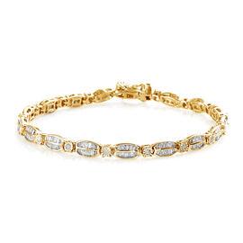 Diamond (Rnd) Tennis Bracelet (Size 7.5)  in 14K Gold Overlay Sterling Silver 2.250 Ct., Silver Wt.