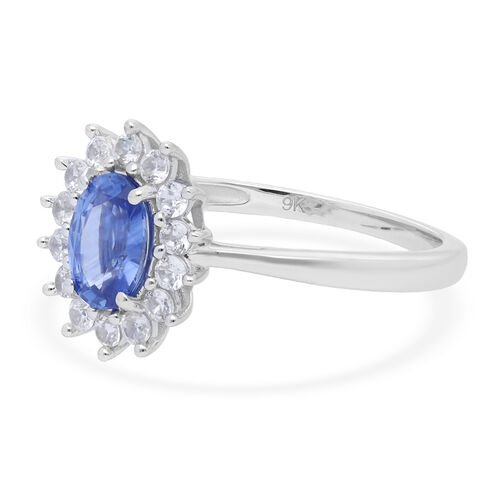 9K White Gold Royal Ceylon Blue Sapphire and Natural Cambodian Zircon Ring 1.51 Ct.