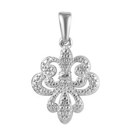 Diamond Fleur de Lis Pendant in Platinum Plated Sterling Silver