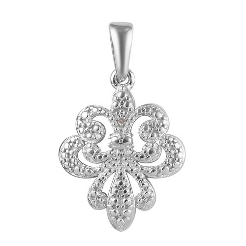 Diamond Fleur de Lis Pendant in Platinum Plated Sterling Silver