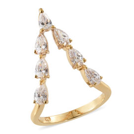 J Francis - 14K Yellow Gold Overlay Sterling Silver (Pear) Ring Made with SWAROVSKI ZIRCONIA