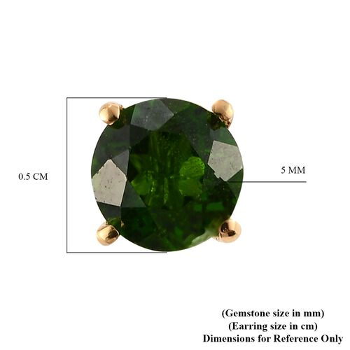 Russian Diopside Stud Earrings in 14K Gold Overlay Sterling Silver 1.00 Ct.
