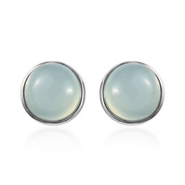Aqua Chalcedony 2.75 Ct Silver Solitaire Stud Earrings in Platinum Overlay (with Push Back)