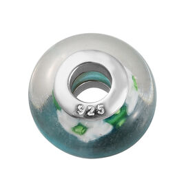 Charmes De Memoire Multi Floral Murano Glass Bead Charm in Platinum Plated Sterling Silver
