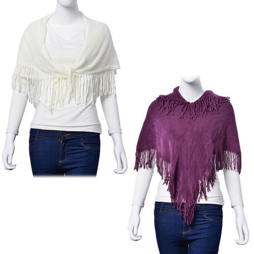 Violet Colour Poncho with Tassels and White Colour Floral Pattern Scarf with Tassels (Free Size)