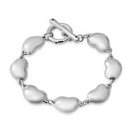 Designer Inspired -Sterling Silver Heart Link Bracelet (Size 7.25),