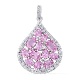 9K White Gold AAA Pink Sapphire (Ovl), Natural White Cambodian Zircon Pendant 4.750 Ct.